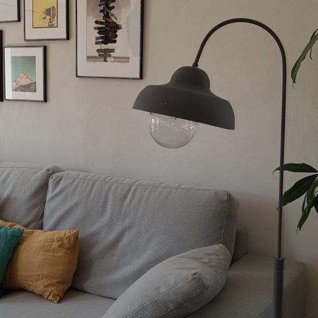 projet de décoration d'intérieur du salonde style bohème, vintage et industriel par home design by line montpellier