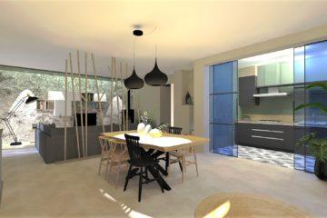 Projet d'aménagement et décoration d'intérieur du séjour et cuisine par home design by line